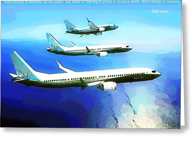 Paper Airplanes Paintings Greeting Cards - Leader Greeting Card by Lanjee Chee