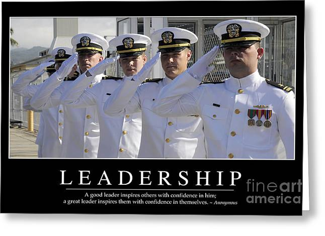 Officers Quarters Greeting Cards - Leadership Inspirational Quote Greeting Card by Stocktrek Images