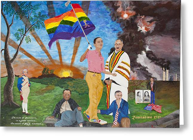 Terrorist Paintings Greeting Cards - Leading Obama Left Greeting Card by Mark Robbins