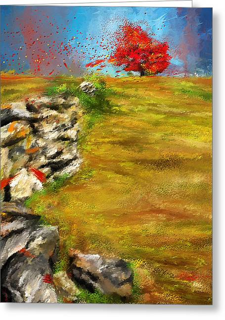 Turquoise And Red Greeting Cards - Leading Red - Autumn Impressionist Greeting Card by Lourry Legarde