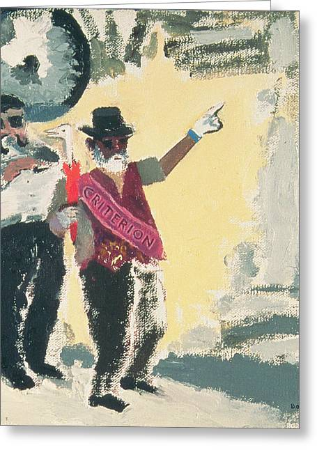 Tuba Greeting Cards - Leading The Criterion Jazz Band With Big Al Oil On Canvas On Board Greeting Card by David Alan Redpath Michie