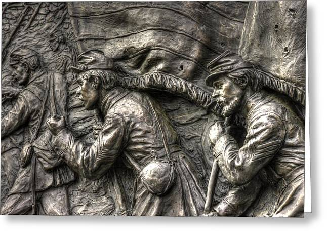 Aotp Greeting Cards - Leading the Way.  State of Delaware Monument Detail-J Gettysburg Autumn Mid-Day. Greeting Card by Michael Mazaika