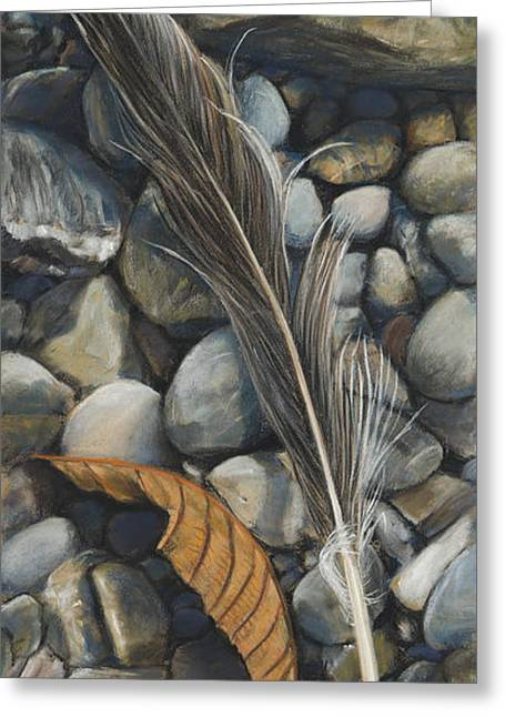 Birdseye Greeting Cards - Leaf and Feather Greeting Card by Nick Payne
