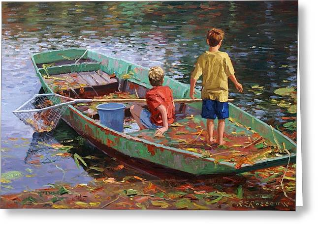 Leaf Covered Barque Greeting Card by Roelof Rossouw