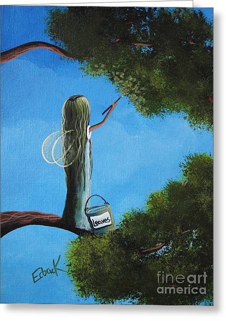 Daughter Gift Paintings Greeting Cards - Leaf Fairy by Shawna Erback Greeting Card by Shawna Erback