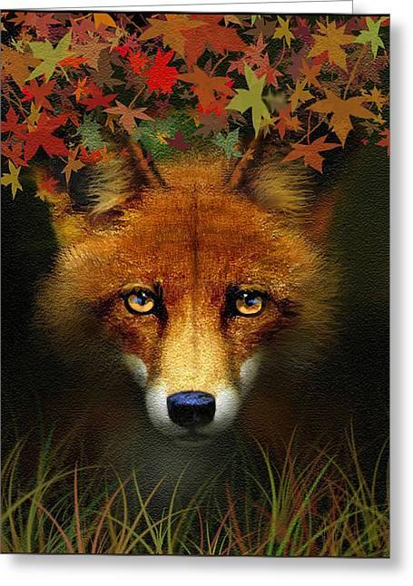 Fallen Leaf Greeting Cards - Leaf Fox Greeting Card by Robert Foster