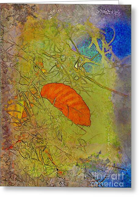 Moss Green Mixed Media Greeting Cards - Leaf In The Moss Greeting Card by Deborah Benoit