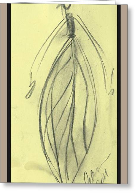 Painted Wood Drawings Greeting Cards - Leaf lady charcoal sketch Greeting Card by Cathy Peterson