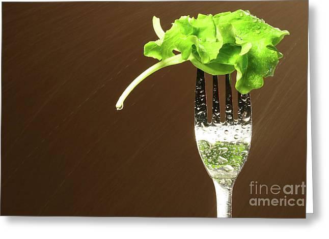 Lettuce Greeting Cards - Leaf of lettuce on a fork Greeting Card by Sandra Cunningham