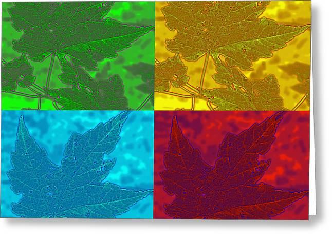 Leaf Pop Art Greeting Card by Barbara McDevitt