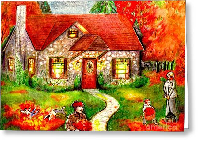Stone House Mixed Media Greeting Cards - Leaf Raking Time Greeting Card by Barbara LeMaster