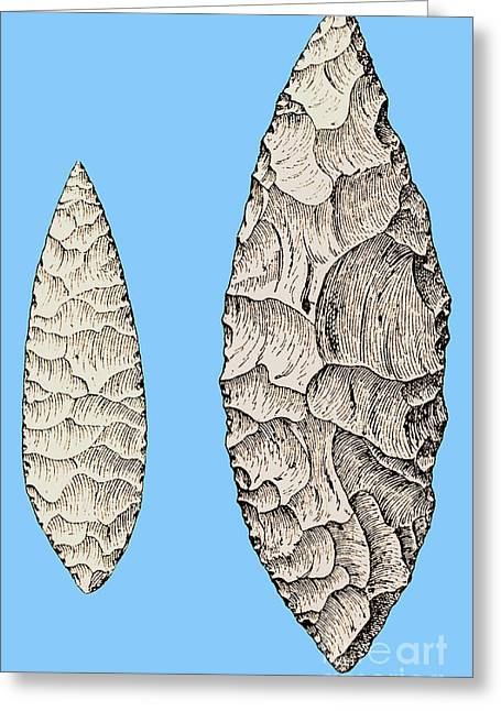 Upper Paleolithic Greeting Cards - Leaf-shaped Flint Implements, Upper Greeting Card by Science Source