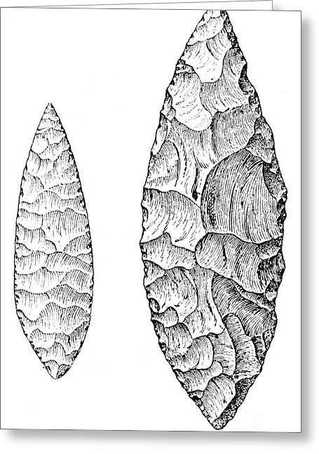 Upper Paleolithic Greeting Cards - Leaf-shaped Flint Implements, Upper Greeting Card by Wellcome Images