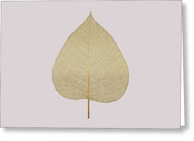 Champagne Glasses Greeting Cards - Leaf Veins Skeleton - Leaf Structure in Gold on Champagne Glass Pink  Greeting Card by Serge Averbukh