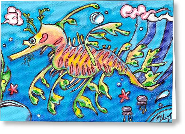 Leafy Sea Dragon Paintings Greeting Cards - Leafy Sea Dragon Greeting Card by Tamara Blyth