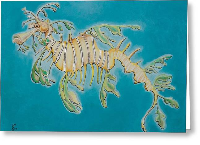 Leafy Sea Dragon Greeting Cards - Leafy Sea Dragon Greeting Card by Yabette Alfaro