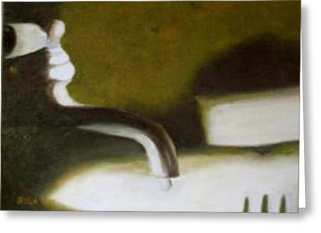 Faucet Paintings Greeting Cards - Leaky Faucet Greeting Card by Nola Hintzel