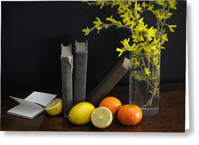 Table Top Still Life Greeting Cards - Lean Greeting Card by Diana Angstadt