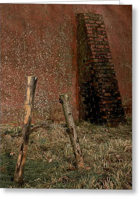 Old Fence Posts Greeting Cards - Lean Into It Greeting Card by Odd Jeppesen