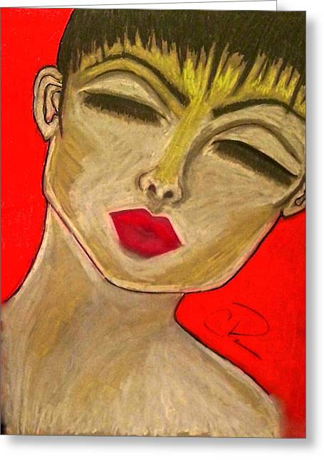 Red Lips Pastels Greeting Cards - Lean on Me Greeting Card by Chrissy  Pena
