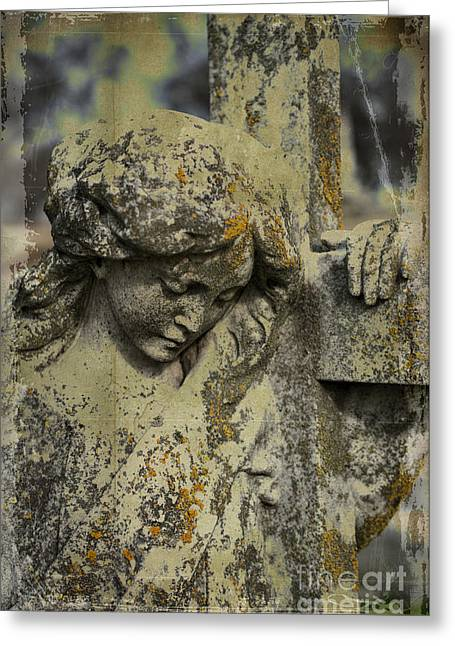 Seraphim Angel Photographs Greeting Cards - Lean on Me Greeting Card by Terry Rowe