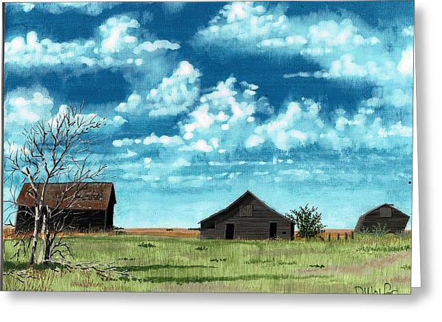 Wheat Field Sunset Print Greeting Cards - Leaning Barns Greeting Card by David Wolfer