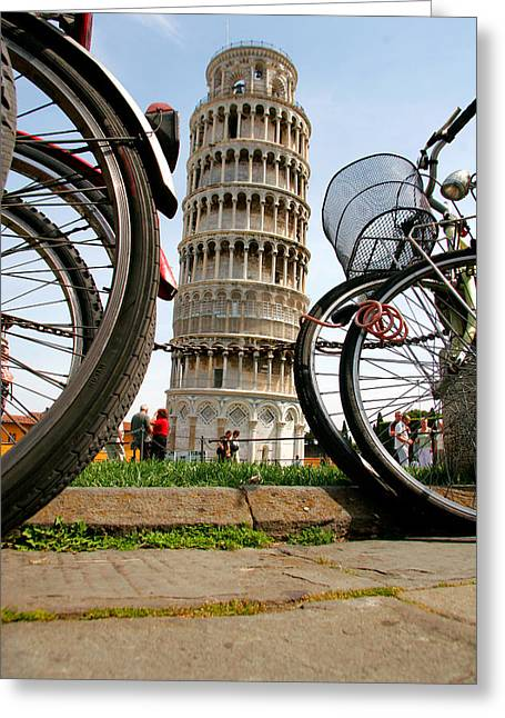 Pisa Greeting Cards - Leaning Bicycles of Pisa Greeting Card by Peter Tellone