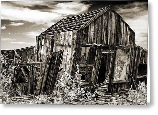 Haunted Shack Greeting Cards - Leaning cabin in Randsberg Greeting Card by Kim M Smith