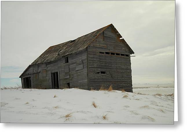 Wooden Antique Building Greeting Cards - Leaning On Borrowed Time Greeting Card by Jeff  Swan
