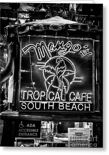 Leaning On Mango's South Beach Miami - Black And White Greeting Card by Ian Monk