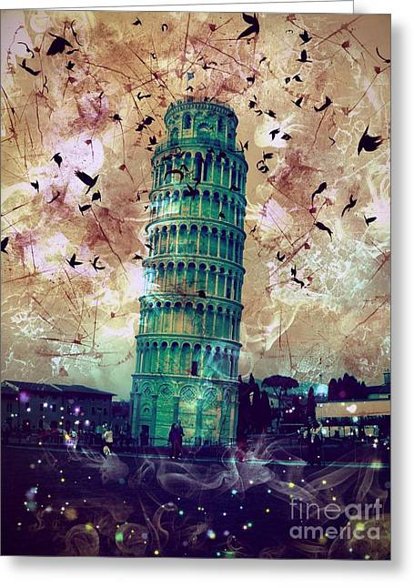 Layers Greeting Cards - Leaning Tower of Pisa 1 Greeting Card by Marina McLain