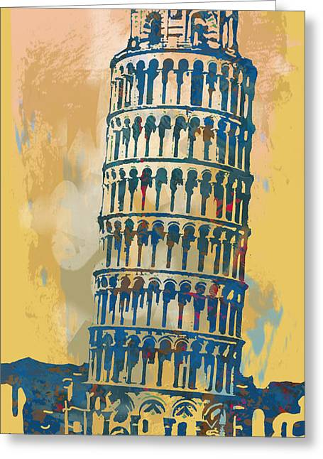 Red Buildings Mixed Media Greeting Cards - Leaning Tower of Pisa  - pop stylised art poster   Greeting Card by Kim Wang