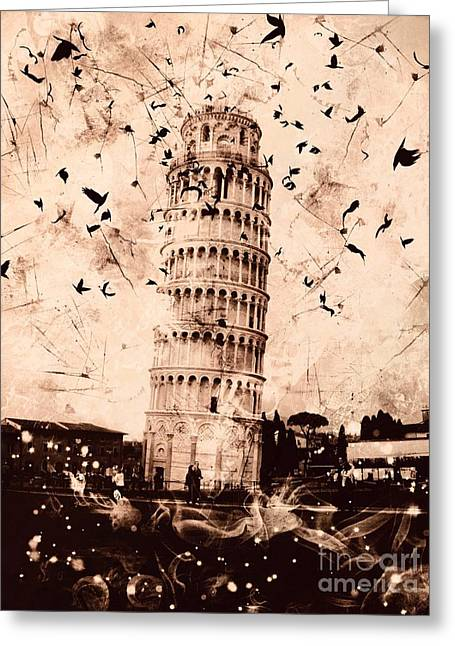 Creepy Digital Greeting Cards - Leaning Tower of Pisa Sepia Greeting Card by Marina McLain