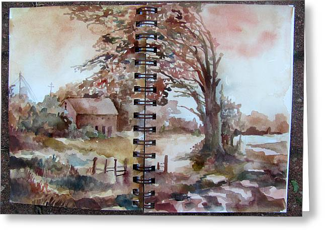 Rural Indiana Paintings Greeting Cards - Leaning Tree on County Road Greeting Card by James Huntley