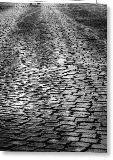 Paved Street Greeting Cards - Leap In The Air Greeting Card by Stylianos Kleanthous