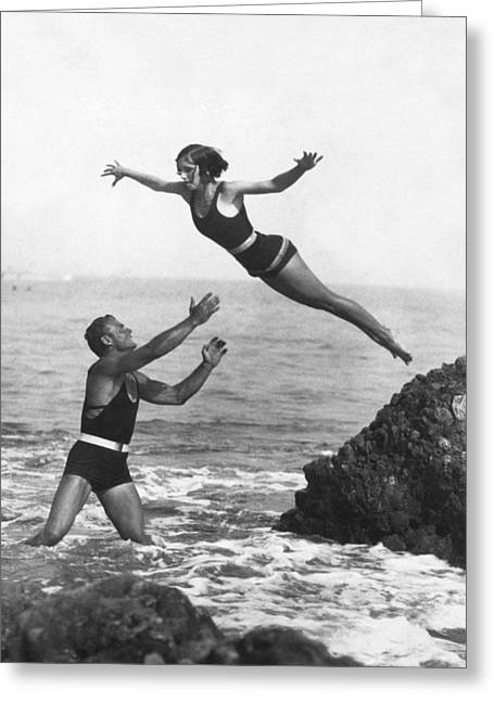 Leap Into Life Guard's Arms Greeting Card by Underwood Archives
