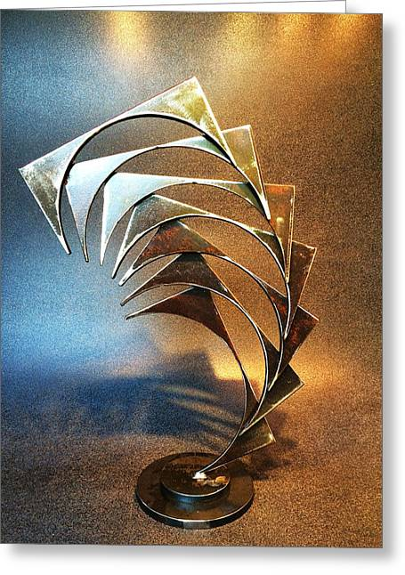 Recycled Sculptures Sculptures Greeting Cards - Leap of Faith Greeting Card by Jeff Owen