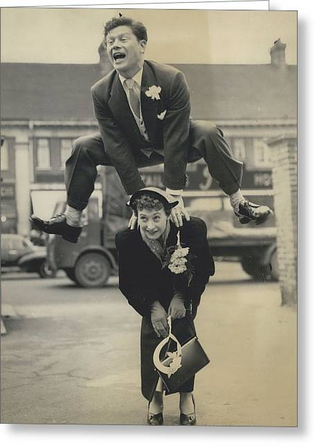 Retro Photography Greeting Cards - Leap- Year Day Wedding In London. The Acrobatic Groom Greeting Card by Retro Images Archive