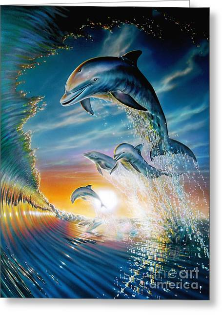 People Digital Art Greeting Cards - Leaping Dolphins Greeting Card by Adrian Chesterman