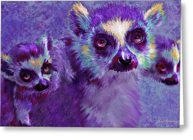 Lemur Greeting Cards - Leaping Lemurs Greeting Card by Jane Schnetlage