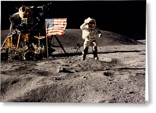 Leaping Lunar Flag Salute Greeting Card by Underwood Archives