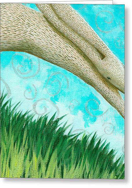 Leaping Rabbit Greeting Card by Aprille Lipton