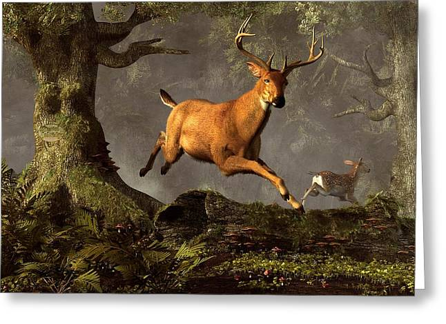 Harts Digital Greeting Cards - Leaping Stag Greeting Card by Daniel Eskridge