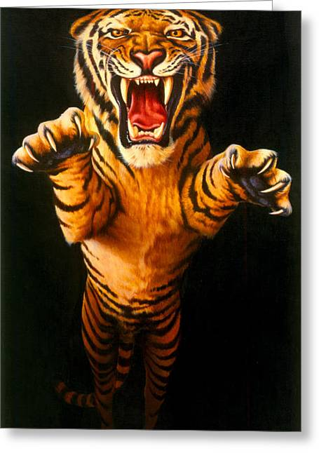 Roar Greeting Cards - Leaping Tiger Greeting Card by Garry Walton