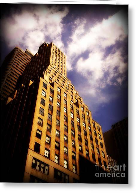 Gotham City Greeting Cards - Leaps Tall Buildings with a Single Bound - Skyscraper Greeting Card by Miriam Danar