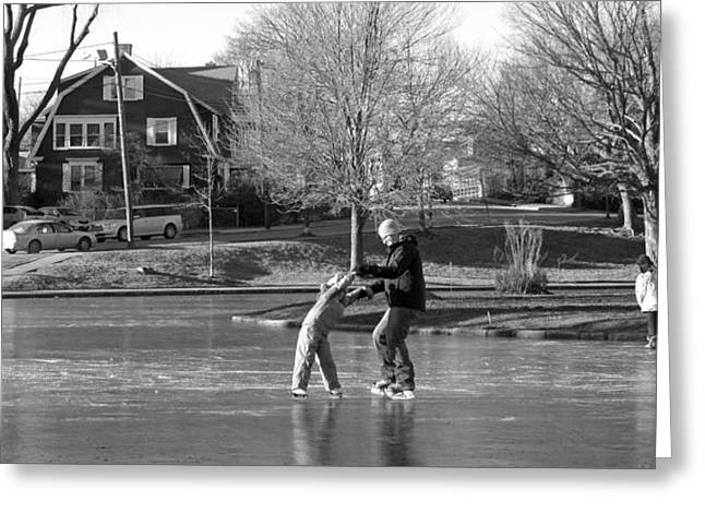 Skating Cottage Greeting Cards - Learning Greeting Card by Barbara McDevitt