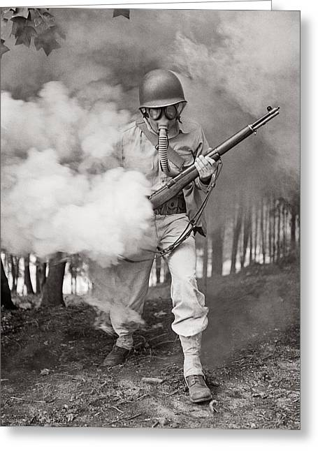 Violence Greeting Cards - Learning how to use a gas mask Circa 1942 Greeting Card by Aged Pixel