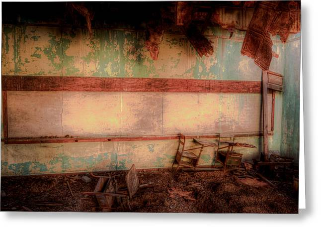 Abandoned School House. Greeting Cards - Learning Greeting Card by Roch Hart