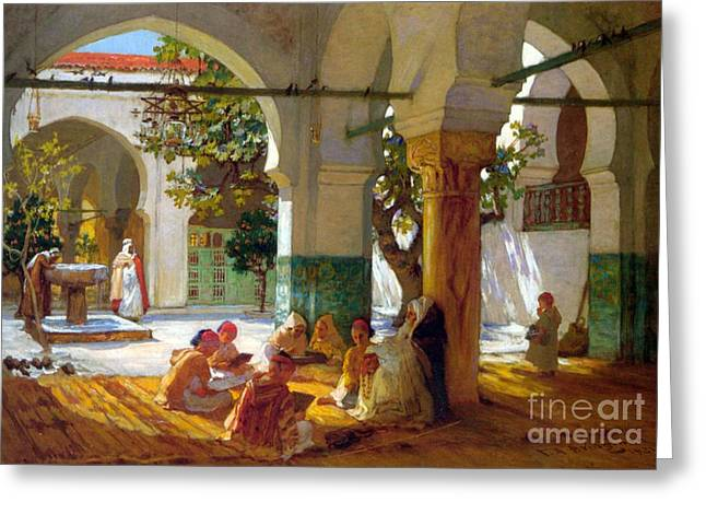 Trimmings Greeting Cards - Learning the Quran Greeting Card by Frederick Arthur Bridgman