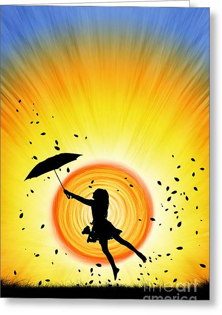 Umbrella Greeting Cards - Learning to Fly Greeting Card by Tim Gainey